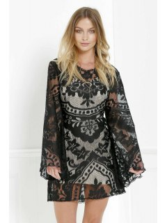 Black Lace Long Sleeve With Cami Dress Twinset - Black M