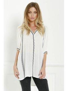 Embroidery V Neck 3/4 Sleeves Dress - White S