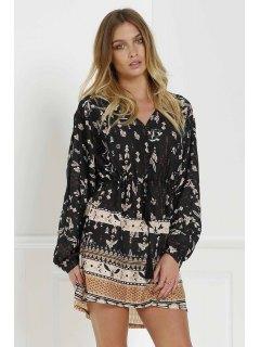 V فستان الطبع الكلاسكي و الكمين الطويلين و الياقة  - أسود M