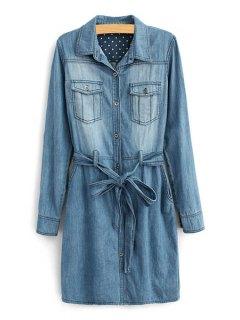 Long Sleeve Self-Tie Belt Denim Dress - Deep Blue Xl