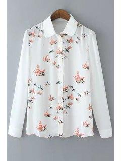 Long Sleeve Bird Print Chiffon White Shirt - White L