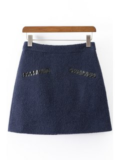 Solid Color Worsted High Waisted Skirt - Cadetblue L