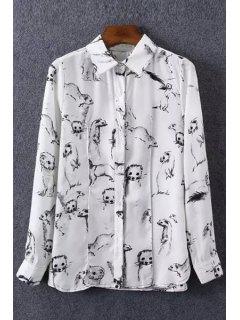 Otter Print Shirt Neck Long Sleeve Shirt - White L