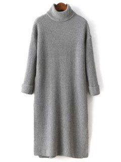 Side Slit Turtle Neck Solid Color Sweater Dress - Gray