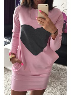 Long Sleeve Heart Pattern Dress - Pink S