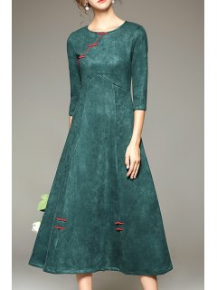Pure Color Vintage 3/4 Sleeve Dress - Green L