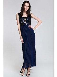Deep V Neck Sequins Backless Dress - Cadetblue S