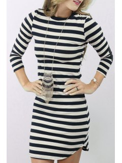 Striped Elbow Patch Round Collar T-Shirt Dress - White And Black S