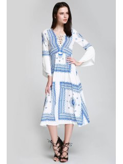 Floral Print Tie Up Long Sleeve Dress - Blue And White S
