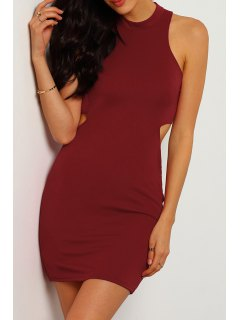 Wine Red Stand Neck Sleeveless Bodycon Dress - Wine Red M
