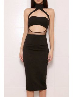 Voile Spliced Halter Solid Color Cut Out Club Dress - Black S