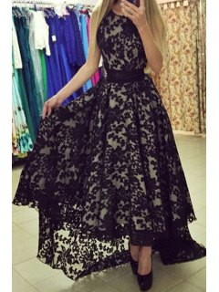 Lace Sleeveless A Line Maxi Dress - Black M