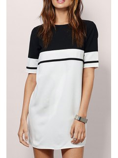 Hit Color Round Neck Short Sleeve Dress - White And Black Xl