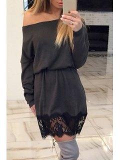 Lace Hook Spliced Sloping Neck Dress - Black M