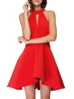 Cut Out Halter Solid Color Dress - Red Xl