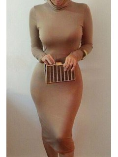 Bodycon Turtle Neck Long Sleeve Dress - Coffee 2xl