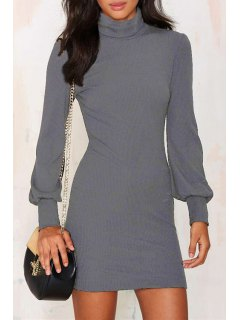 Solid Color Turtle Neck Mini Sweater Dress - Gray M