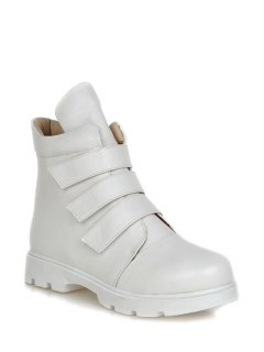 Solid Colour  Round Toe Short Boots - White 37