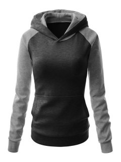 Color Block Hooded Long Sleeve Pullover Hoodie - Black And Grey L