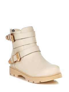 Metal Buckles Solid Color Short Boots - Off-white 39