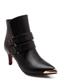 Metallic Toe Strap Solid Color Short Boots - Black 39