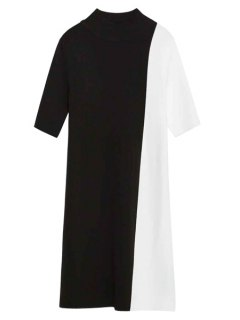 Black And White Short Sleeve Stand Neck Dress - White And Black S