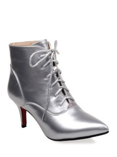 Pointed Toe Metallic Color Short Boots - Silver 37
