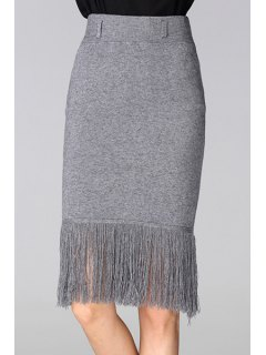Tassels Spliced High Waisted Slimming Pencil Skirt - Gray