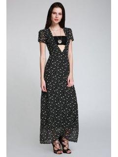 Full Star Print Maxi Plunge Dress - Black S