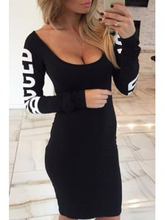 Hollow Back Long Sleeve Bodycon Dress - Black L