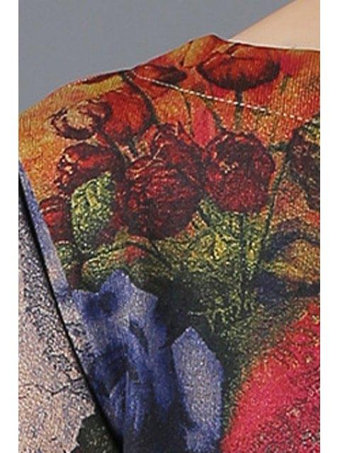 buy Flower Print Long Sleeve Loose Dress - BLUE 4XL Mobile