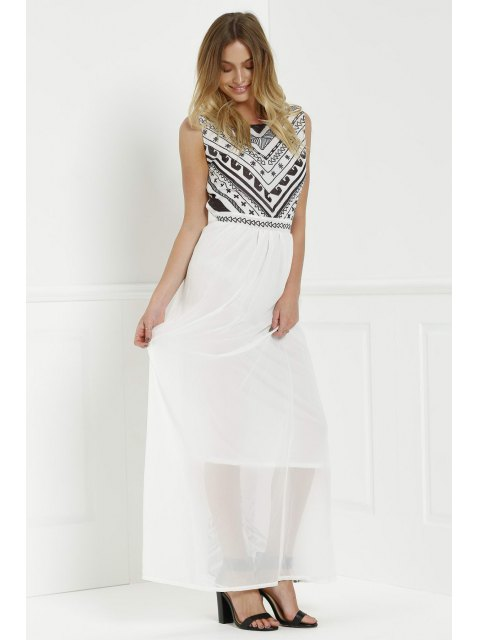 womens Backless Geometric Print Chiffon Maxi Dress - WHITE XL Mobile