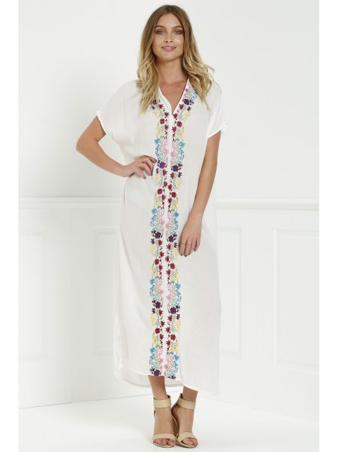 latest Bohemian Side Slit Embroidered Maxi Dress - WHITE L Mobile