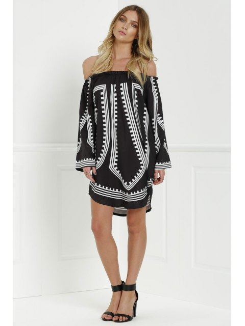 outfit Slash Neck 3/4 Sleeve Flare Dress - BLACK XL Mobile