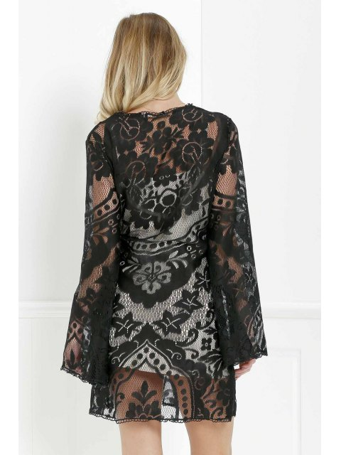 new Black Lace Long Sleeve with Cami Dress Twinset - BLACK L Mobile