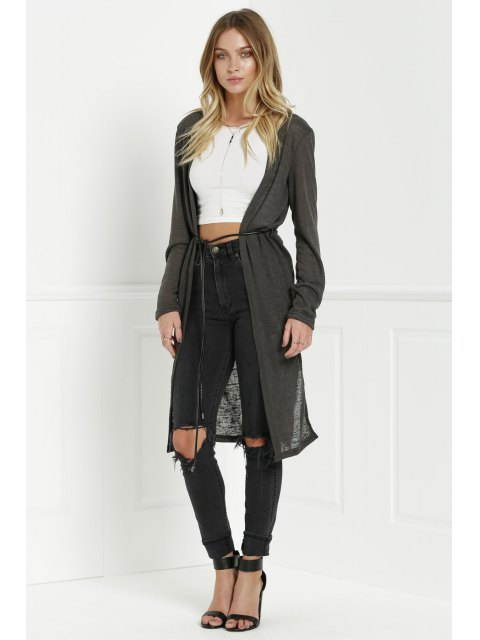 outfits Solid Color New Look Midi Cardigan - OLIVE GREEN M Mobile