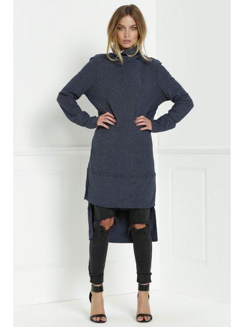 unique Solid Color Turtle Collar Sweater Dress - DEEP BLUE S Mobile