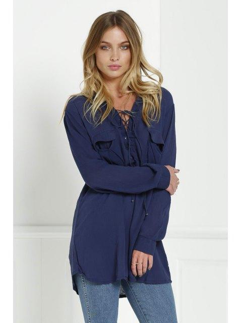 shop Loose V Neck Long Sleeve Blouse - CADETBLUE M Mobile