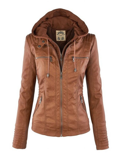 buy Solid Color PU Leather Convertible Collar Jacket - LIGHT BROWN 2XL Mobile