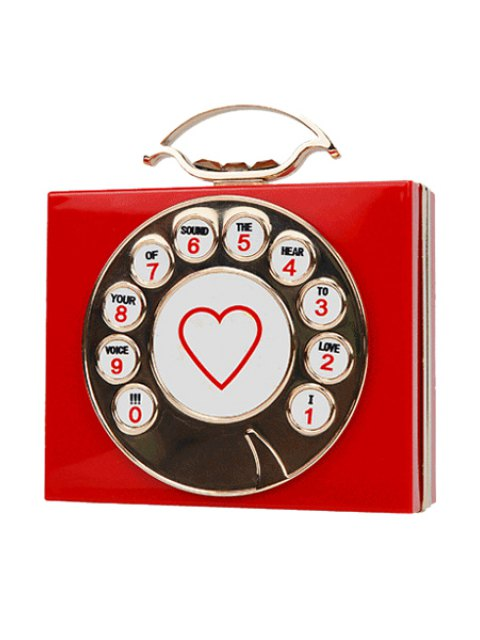 unique Telephone Shape Heart Print Evening Bag - RED  Mobile