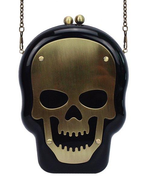 trendy Skull Shape Kiss Lock Chains Evening Bag - BLACK  Mobile