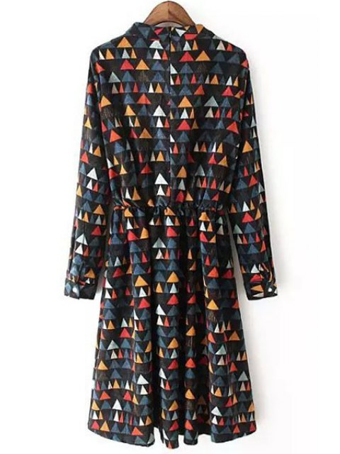 fashion Colorful Triangle Print Corduroy Dress - COLORMIX M Mobile