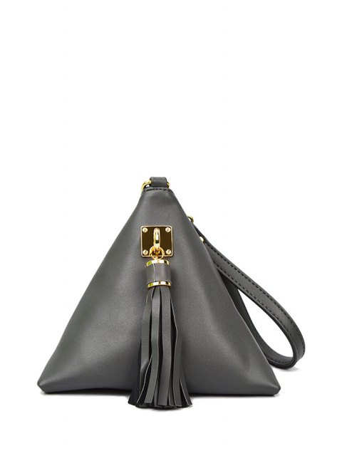 buy Solid Color Triangle Shape Tassel Clutch Bag - GRAY  Mobile