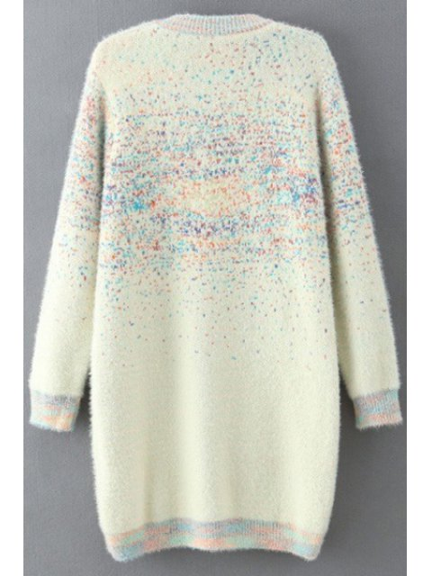 online Beaded Round Collar Long Sleeve Sweater Dress - WHITE ONE SIZE(FIT SIZE XS TO M) Mobile