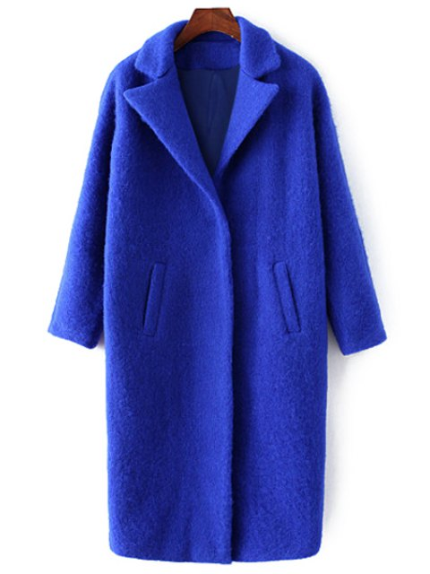 affordable Pockets Pure Color Lapel Collar Wool Coat - SAPPHIRE BLUE S Mobile