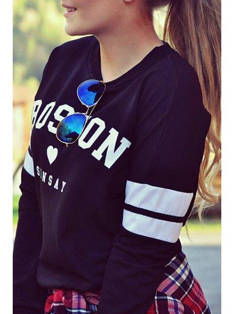 women's Letter Round Neck Long Sleeve Sweatshirt - BLACK S Mobile