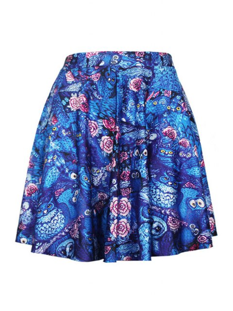 women's Digital Print Pleated Ball Gown Skirt - BLUE ONE SIZE(FIT SIZE XS TO M) Mobile