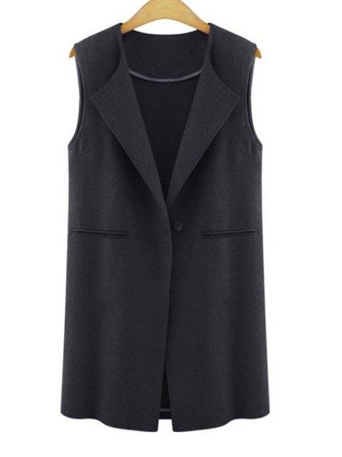 Gilet en laine de couleur pure avec un bouton - Noir 3XL Mobile
