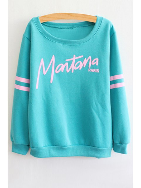 chic Letter Print Round Collar Stripe Sweatshirt - AZURE ONE SIZE(FIT SIZE XS TO M) Mobile
