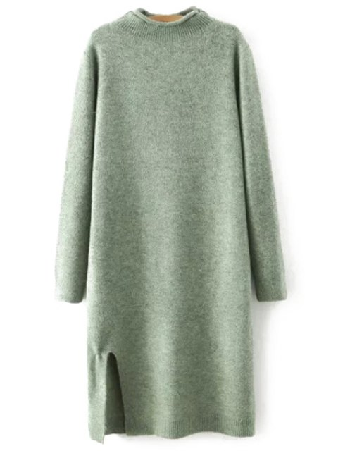 buy Side Slit Stand Neck Long Sleeves Sweater Dress - GREEN L Mobile
